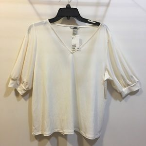 H & M cuffed sleeve blouse v-neck size large NWT